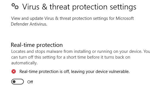 Defender real time protection turn off