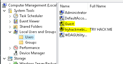 Computer management user accounts